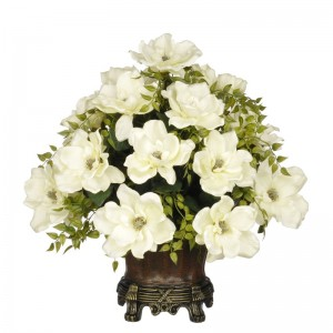 House of Silk Flowers Artificial Cream Magnolia with Tea Leaves HSFL1465