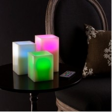 Lavish Home 3 Piece Square Color Changing Scented Flameless Candle Set LVRG1965