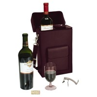 Royce Leather Personalized Connoisseur 2 Bottle Wine Protector and Carrier RYL1498