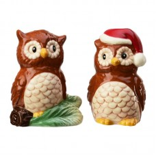 Global Amici Season Christmas Owls 2 Piece Salt and Pepper Shakers Set GAM2663