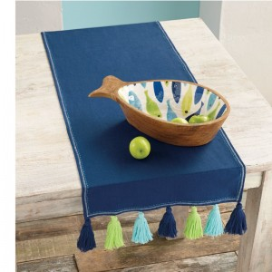 Mud Pie™ Navy Tassel Table Runner MDPI2526