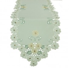 Xia Home Fashions Emerald Daisy Embroidered Cutwork Table Runner XIAH1275