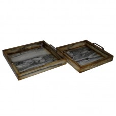Cheungs 2 Piece Faux Marble Square Tray Set HEU4096