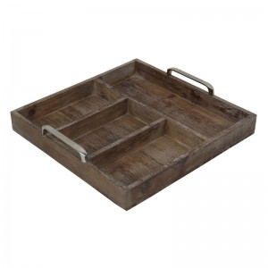 Cheungs Natural Wood Compartment Tray with Chrome Handle HEU3759
