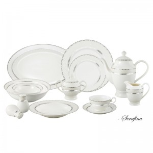 Lorren Home Trends Bone China 57 Piece Dinnerware Set, Service for 8 LHT1259