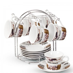 Lorren Home Trends Espresso Cup and Saucer Set with Metal Stand LHT1711