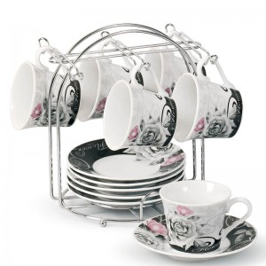 Lorren Home Trends Espresso Cup and Saucer Set with Metal Stand LHT1714