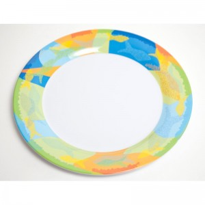 "Galleyware  Company Decorated 10"" Melamine Calypso Non-skid Dinner Plate GALE1223"