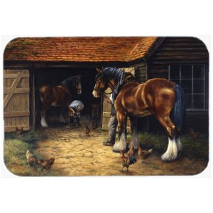 Caroline's Treasures Horse and The Blacksmith Glass Cutting Board HTJ20310